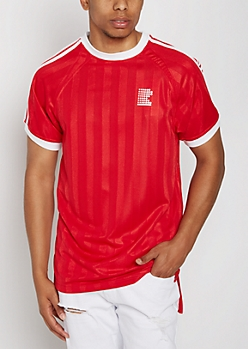 Red Retro Soccer Athletic Tee
