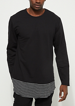Black Layered Striped Thermal Sweatshirt