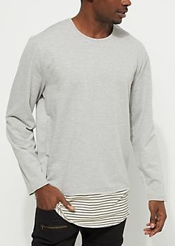Heathered Gray Layered Sweatshirt