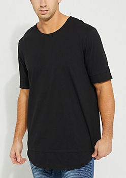 Double-Layered Longer Length Black Tee