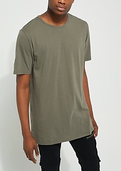 Olive Longer Length Essential Tee