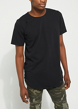 Black Longer Length Ripped Essential Tee
