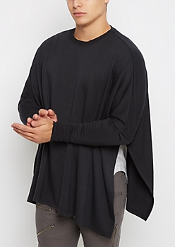 Black Knit Long Sleeve Poncho