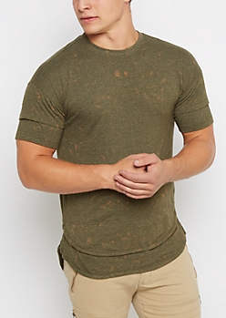 Olive Washed Long Length Layered Tee