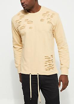 Sand Slashed Tie Hem Sweatshirt