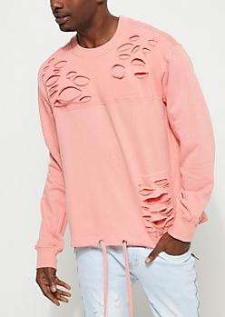 Pink Slashed Tie Hem Sweatshirt