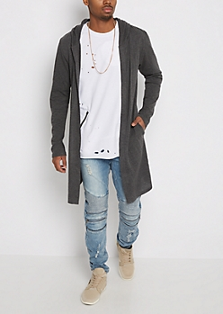Charcoal Gray Hooded Cardigan