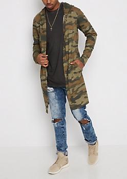 Camo Hooded Cardigan
