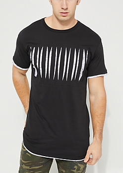 Black Layered Short Sleeve Slasher Tee