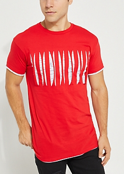 Red Spacedye Layered & Slashed Tee