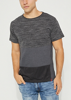 Charcoal Space Dye Contrast Mesh Tee