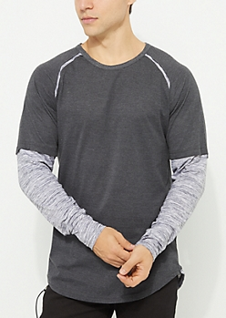 Layered Space Dye Raglan Tee