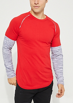 Red Spacedye Layered Long Sleeve Tee
