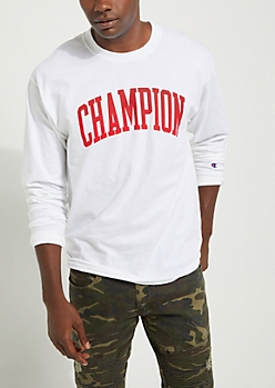 White Champion Classic Long Sleeve Tee