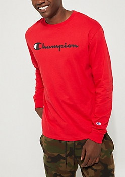 Red Champion Classic Long Sleeve Tee