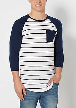 Navy Striped Super Soft Baseball Tee