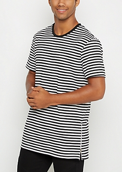 Striped Side Zip Long Length Tee