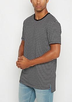Black Striped Long Length Tee