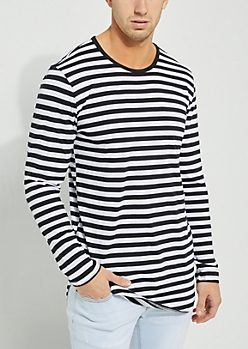 Striped Longer Length Long Sleeved Tee