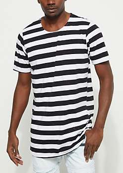 Black and White Striped Bleach Splattered Tee