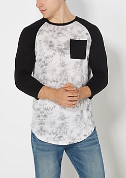 Black Tie Dye Super Soft Baseball Tee