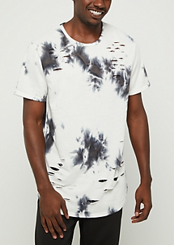 Black Tie Dye Distressed Tee