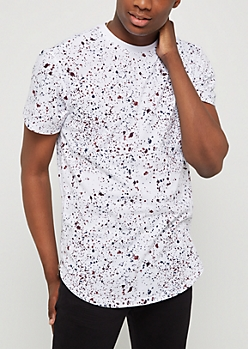 White Multi Dark Paint Splatter Tee