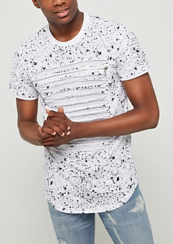 White Paint Splatter & Slashed Tee