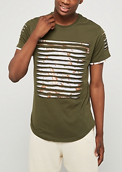 Olive Slashed & Foiled Paint Splatter Tee