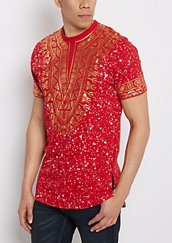 Red Tribal Foiled Tee