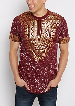 Burgundy Tribal Foiled Tee