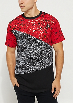 Red Contrast Paint Splatter Foiled Tee