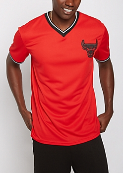 Red Chicago Bulls Mesh V-Neck Jersey