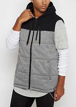 Gray Color Block Hooded Vest