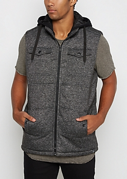 Marled Charcoal Hooded Vest
