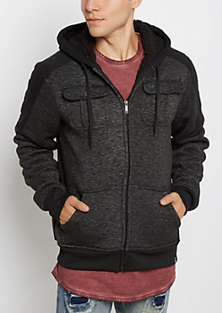 Space Dyed Mock Sherpa Hooded Jacket