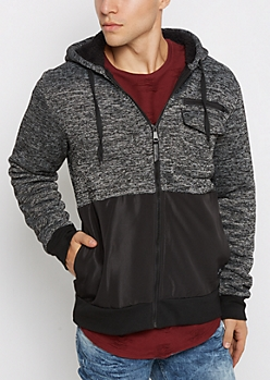Marled Color Block Sherpa Hooded Jacket