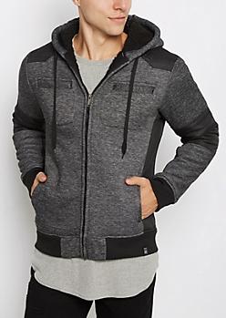 Marled Fleece Lined Moto Jacket