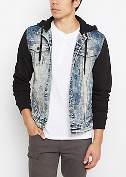 Acid Wash Hooded Jean Jacket