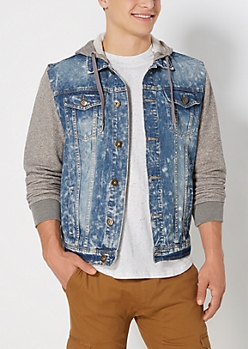 Acid Washed Denim Hooded Jacket