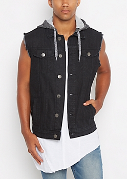 Black Hooded Frayed Arm Jean Vest