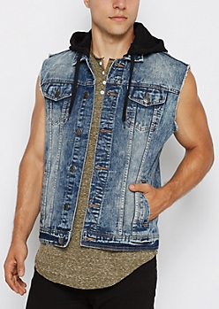 Blue Hooded Frayed Arm Jean Vest
