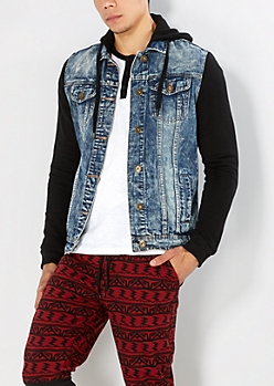 Extreme Wash Hooded Jean Jacket