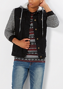 Hooded Black Denim Jacket