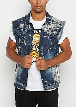 Washed Vintage Moto Jean Vest