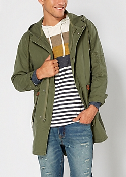 Olive Green Hooded Anorak