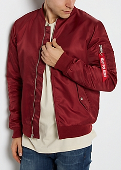 Burgundy Ready For Flight Bomber Jacket