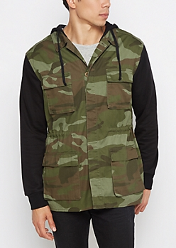 Mixed Camo Hooded Anorak