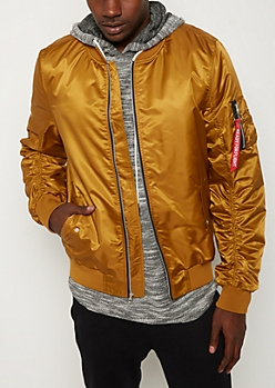 Mustard Ruched Bomber Jacket