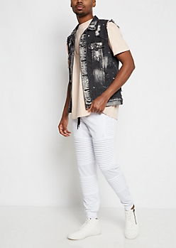 Black Destroyed & Paint Splattered Jean Vest
